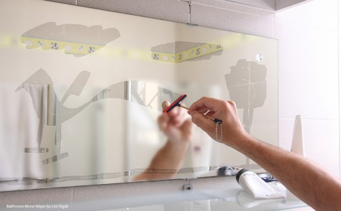 Sketching on bathroom mirror